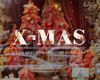 X-mas - The most wonderful time of the year - Christmas Window Sign - Christmas Window Decal, Removable Vinyl, Christmas Window Decoration