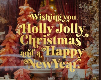 Christmas Window, Wall Vinyl Decal, Shop Retail Window Display, Merry Christmas Decal, Season's Greetings, Seasonal Window Decoration