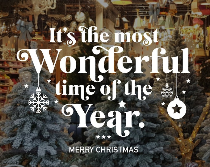 Featured listing image: Christmas Window, Wall Vinyl Decal, Shop Retail Window Display, Merry Christmas Decal, Season's Greetings, Seasonal Window Decoration