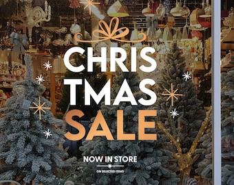 Christmas Sale Shop Window Sign - Removable Retail Display Vinyl - Seasonal Window Decor - Festive Season Sticker - Christmas Sticker