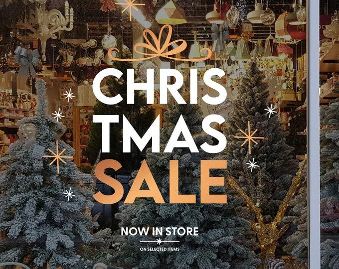 Featured listing image: Christmas Sale Shop Window Sign - Removable Retail Display Vinyl - Seasonal Window Decor - Festive Season Sticker - Christmas Sticker