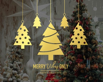 Merry Vibes Only Christmas Tree Shop Window Decal, Shop Window Sign, Happy Holidays, Happy New Year, Window Sticker, Window Sign