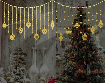 Hanging Christmas Tree Decorations Window Decal, Shop Retail Window Display, Gold Stars Stickers, Removable Window Vinyl, Happy Xmas