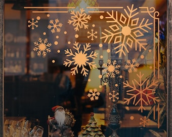Christmas Corner Decorations Window Decal, Shop Retail Window Display, Happy Holiday, Seasonal Window Decoration, Removable Window Vinyl
