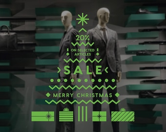 Christmas Tree Sale Shop Window Decal, Shop Window Sale Sign, Clearance, Merry Christmas, Happy New Year, Window Sticker, Sale Sticker
