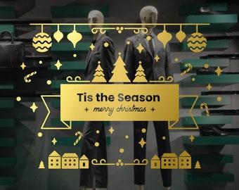 Tis the Season - Christmas Shop Window Sign - Removable Retail Display Vinyl - Seasonal Decoration - Holiday Decal - Christmas Sticker