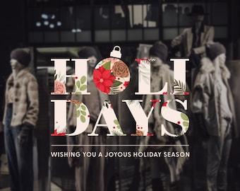 Holidays Shop Window Sticker - Christmas Window Sign - Christmas Window Decal, Removable Vinyl, Christmas Window Decoration, Happy Holidays