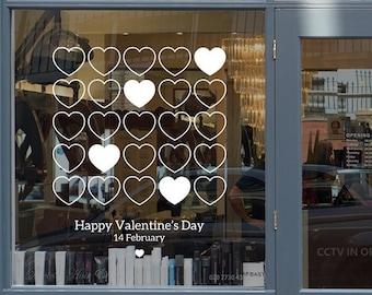 Happy Valentine's Day Hearts Window Decal - Removable Vinyl Sticker - Seasonal Shop Window Vinyl Sticker - Valentine's Window Decoration