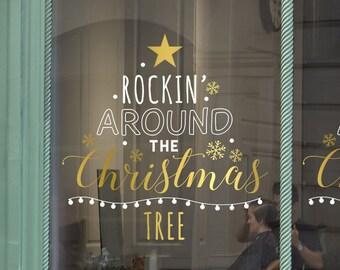 Rockin' Around The Christmas Tree Message Shop Window Decal, Christmas Window Vinyl Decal, Shop Retail Display, Seasonal Window Decoration