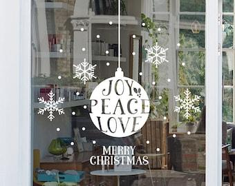 Joy Peace Love Christmas Window, Wall Vinyl Decal, Shop Retail Window Display, Merry Christmas Decal, Seasonal Window Decoration