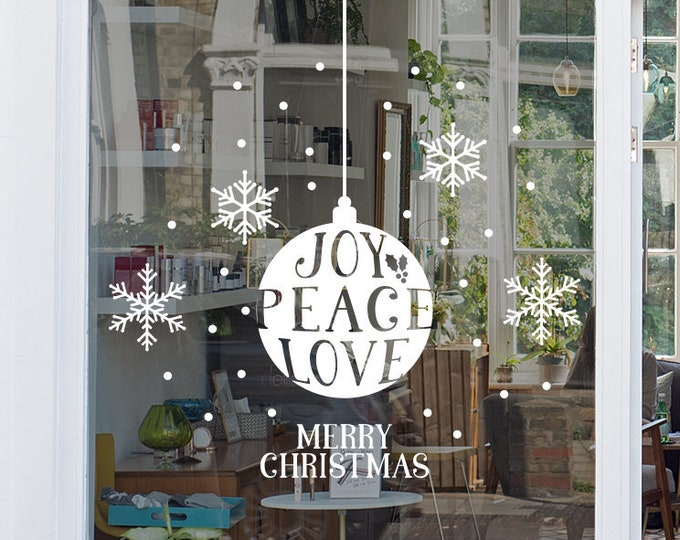 Featured listing image: Joy Peace Love Christmas Window, Wall Vinyl Decal, Shop Retail Window Display, Merry Christmas Decal, Seasonal Window Decoration