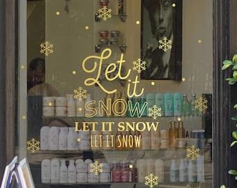 Let It Snow Christmas Shop Window Decal , Shop Retail Window Display, Seasonal Decoration, Removable Vinyl, White Snowflakes, Gold, Xmas