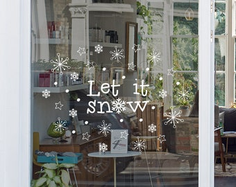Let it Snow Christmas Window, Vinyl Decal, Shop Retail Window Display, Decal, Snowflakes Set, Seasonal Window Decoration, Christmas Stars