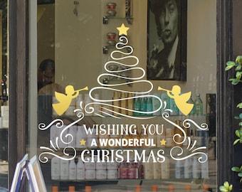 Wonderful Christmas Tree Message Shop Window Decal, Christmas Window Vinyl Decal, Shop Retail Display, Seasonal Window Decoration