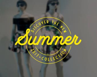 Discover the Summer Collection Window Sign - Removable Vinyl Decal - Seasonal Shop Window Sticker - Summer Window Cling - Retail Display