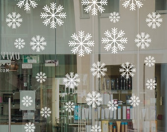 Large Snowflakes Set Shop Window Decal, Shop Retail Window Display, Christmas Window Decoration, Removable Vinyl, White Snowflakes
