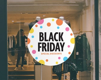 Black Friday Discounts Sign - Removable and Reusable Window Sticker - Promotional Window Sign for Black Friday - Black Friday Discount Sale