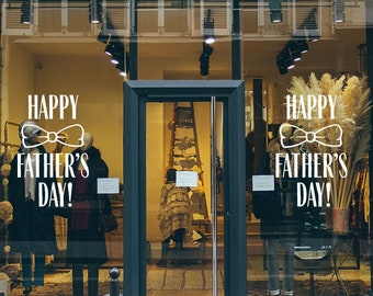 Happy Father's Day Window Decal - Father's Day Bowtie Vinyl Sign
