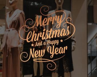 Merry Christmas & Happy New Year Window Decal, Wall Vinyl Sticker, Shop Sign, Window Display, Seasonal Window Decoration, Vinyl Sticker