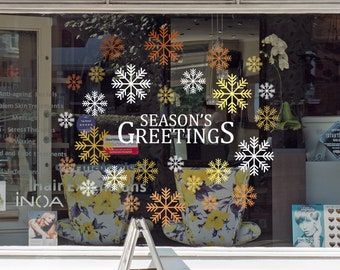 Season's Greetings Christmas Shop Window Decal , Shop Retail Window Display, Happy Holiday, Seasonal Window Decoration, Removable Vinyl