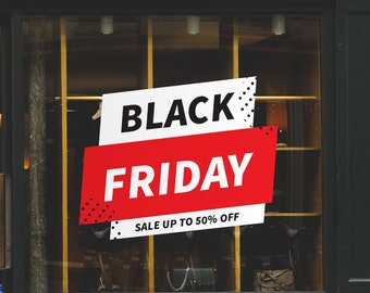 Black Friday Sale Window Sign - Removable and Reusable Window Sticker - Promotional Window Sign for Black Friday - Black Friday Sale 50%OFF