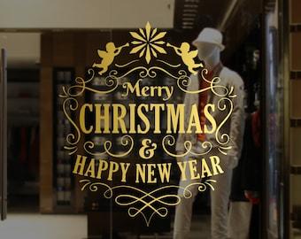 Merry Christmas & Happy New Year Window Decal, Wall Vinyl Sticker, Shop Sign, Window Display, Seasonal Window Decoration, Christmas Angels