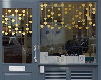 Hanging Hearts Valentine's Day Window Decal - Removable Vinyl Sticker - Seasonal Shop Window Decoration - Valentine's Shop Window Decoration