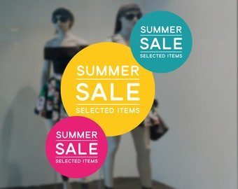 Summer Sale Retail Display Sign - Removable Vinyl Decal - Seasonal Shop Window Sticker - Summer Window Cling - Sale Retail Display
