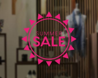Summer Sale Sun Promotional Window Sign - Removable Vinyl Decal - Seasonal Shop Window Sticker - Summer Window Cling - Retail Display