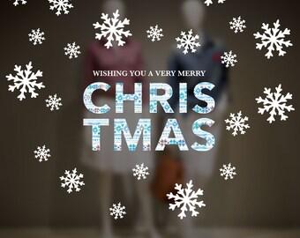 Merry Christmas Window Decal Set, Removable Window Vinyl Sign, Christmas Window Decoration, Scandinavian Christmas, Snowflakes Vinyl Decal