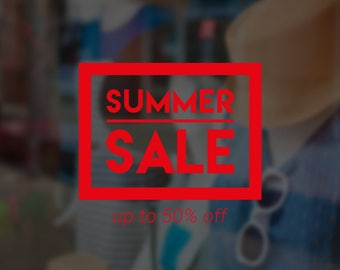 Summer Sale Self Adhesive Window Sign - Removable Vinyl Decal - Seasonal Shop Window Sticker - Summer Window Cling - Retail Display