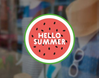 Hello Summer Watermelon Shop Window Sign - Removable Vinyl Decal - Seasonal Shop Window Sticker - Summer Window Cling - Retail Display
