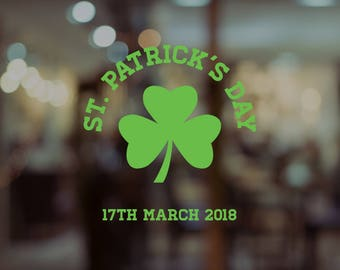 St. Patrick's Day Clover Window Decal - Removable Retail Display Vinyl - Saint Patrick's Day - Retail Window - Shop Front Sign