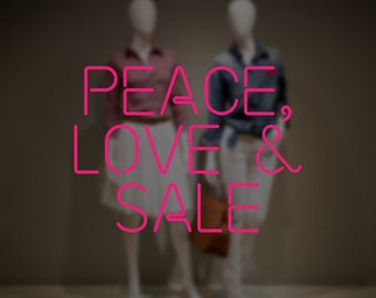 Peace, Love & Sale Window Sign - Removable Vinyl Decal - Promotional Shop Window Sticker - Sale Window Cling - Retail Display Sale