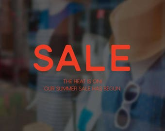 Heat is On - Summer Sale Large Window Sign - Removable Vinyl Decal - Seasonal Shop Window Sticker - Summer Window Cling - Retail Display