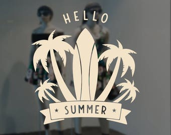 Hello Summer Tropical Surfboard Window Sign - Removable Vinyl Decal - Seasonal Shop Window Sticker - Summer Window Cling - Retail Display