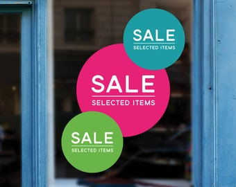 Sale Circle Retail Display Sign - Removable Vinyl Decal - Promotional Shop Window Sticker - Sale Window Cling - Sale Retail Display