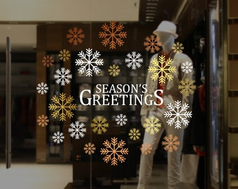Season's Greetings Christmas Shop Window Decal - Removable Retail Display Vinyl - Seasonal Window Decor - Christmas Sticker