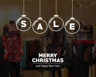 Christmas Sale Message Shop Window Sign - Removable Retail Display Vinyl - Seasonal Decoration - Festive Season Sticker - Christmas