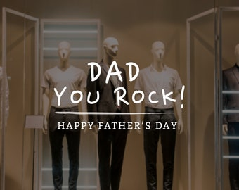 Dad You Rock Father's Day Retail Display - Removable Window Vinyl Decal - Seasonal Shop Window Sticker - Father's Day 2019