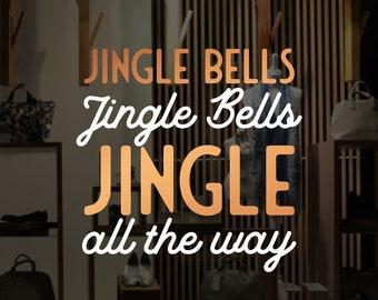 Jingle Bells Christmas Shop Window Decal - Removable Retail Display Vinyl - Seasonal Window Decor - Festive Season Sticker - Xmas Sticker