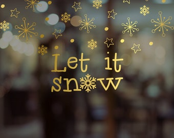 Let It Snow Christmas Window Decal Sticker - Removable Retail Display Vinyl - Seasonal Decoration - Festive Season Sticker - Xmas Sticker