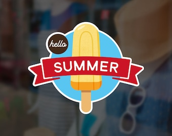 Hello Summer Ice Cream Retail Display Sign - Removable Vinyl Decal - Seasonal Shop Window Sticker - Summer Window Cling - Retail Display