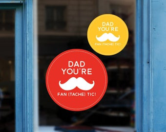 Funny Father's Day Moustache Window Vinyl - Reusable Window Vinyl Decal - Shop Window Sticker - Father's Day Removable Window Sign