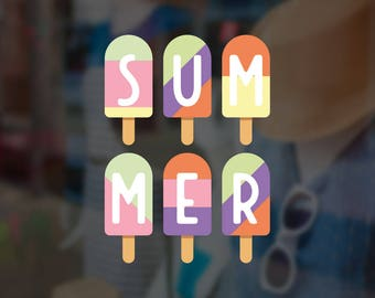 Summer Popsicle Garland Retail Display Sign - Removable Vinyl Decal - Seasonal Shop Window Sticker - Summer Window Cling - Retail Display