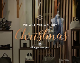 We Wish You A Merry Christmas Shop Window Decal - Removable Retail Display Vinyl - Seasonal Window Decor - Christmas Season Sticker