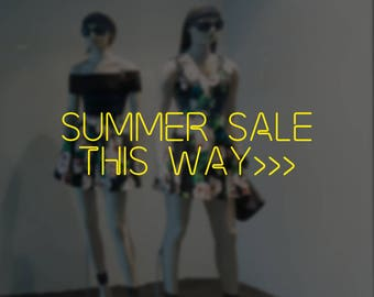 Summer Sale This Way Neon Lights Window Sign - Removable Vinyl Decal - Seasonal Shop Window Sticker - Summer Window Cling - Retail Display