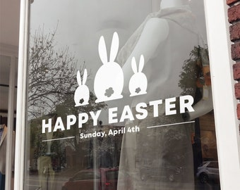 Happy Easter Day Window Decal - Removable Retail Display Vinyl - Easter Shop Window Decal - Retail Window Sign - Easter Bunny Sticker