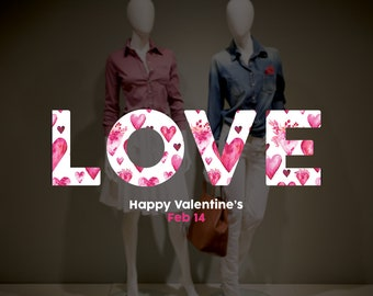 LOVE - Happy Valentine's Day Shop Window Decoration - Removable Retail Sign - Self Adhesive Removable Vinyl Sticker - February 14