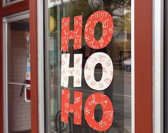 Ho Ho Ho - Christmas Window Decal, Removable Window Vinyl Sign, Christmas Window Decoration, Seasonal Decor